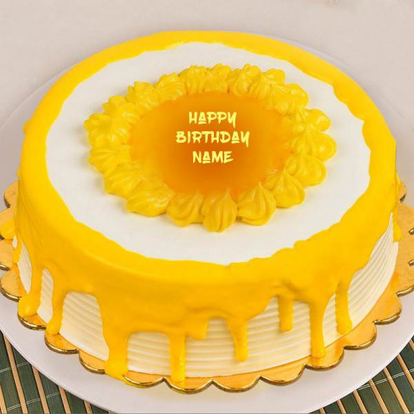 Mango Birthday Cake with Name